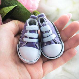 Обувь для кукол Кеды 5 см на шнурках (сиреневые)