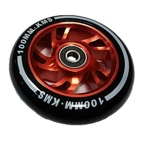 Колесо КМС 100 мм с алюминиевым диском красное