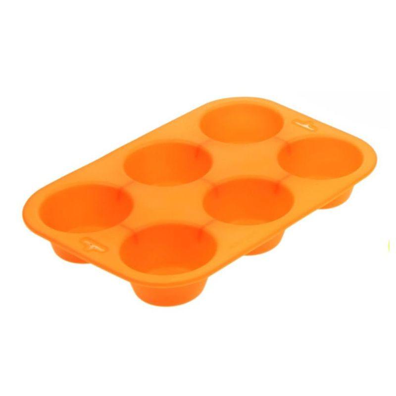 Силиконовая Форма Для Выпечки Кексов, 6 Ячеек, Цвет Оранжевый