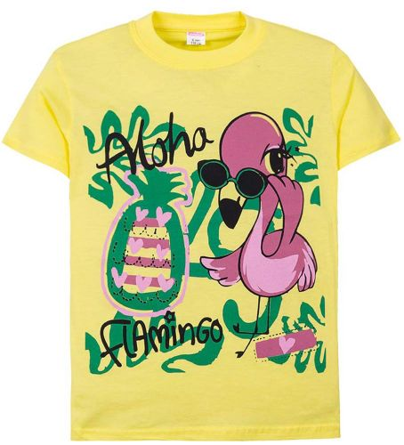 Футболка для девочек 6-9 лет Sladikmladik c розовым фламинго