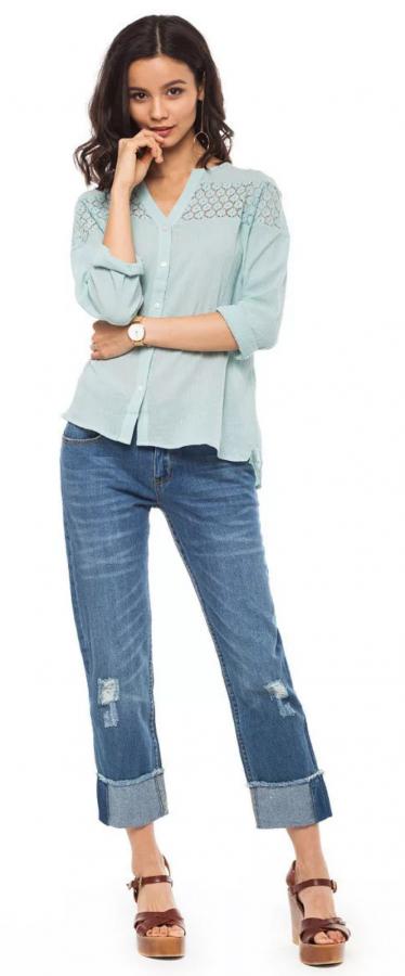 ДИСКОНТ VILATTE D54.104 Джинсы женские голубой