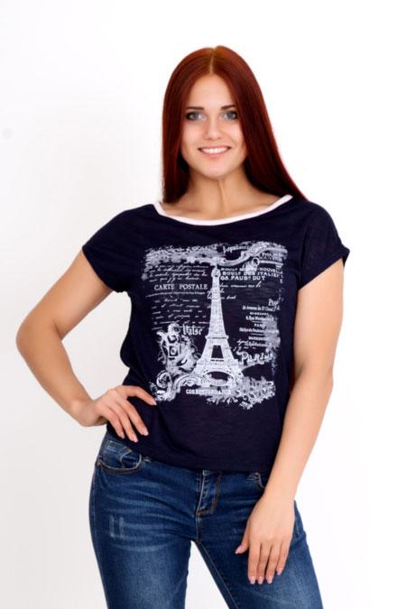 """Футболка """"Париж"""" темно-синяя, деворе"""