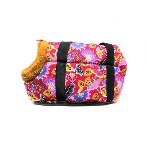 Переноска для собак с меховой отделкой и узором, Цвет Красный, Узор Розовые цветы