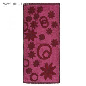 Полотенце махровое «Лужок», цвет розовый/чёрный, размер 34х74 см