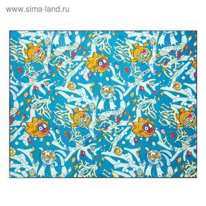 Палас велюр Смешарики и море, размер 200х250 см, цвет синий, полиамид   3727394