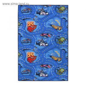 Палас принт Гонки, размер 100х150 см, цвет синий, войлок, полиамид 2726730