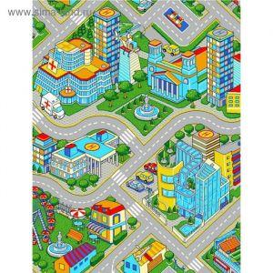 Палас принт Мегаполис, размер 200х250 см, цвет серый, полиамид 1471006