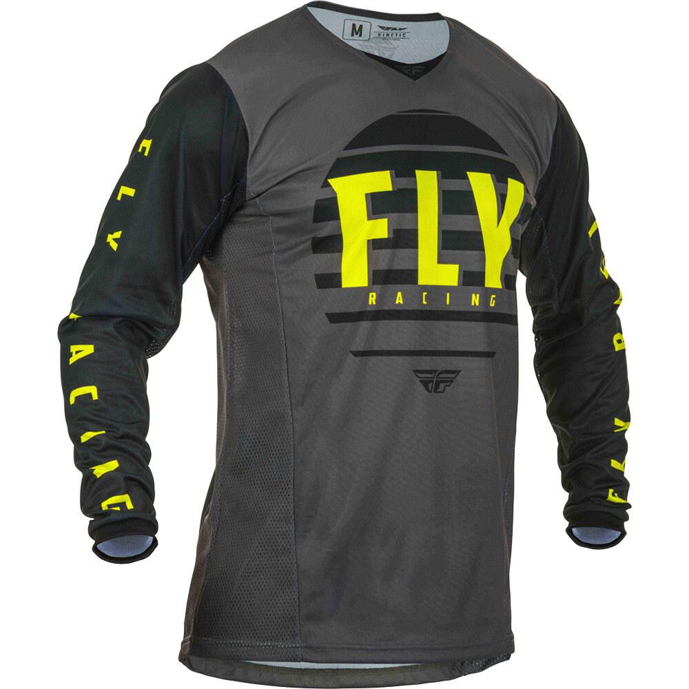 Fly - 2020 Kinetic K220 Black/Grey/Hi-Vis джерси, черно-серо-желтое