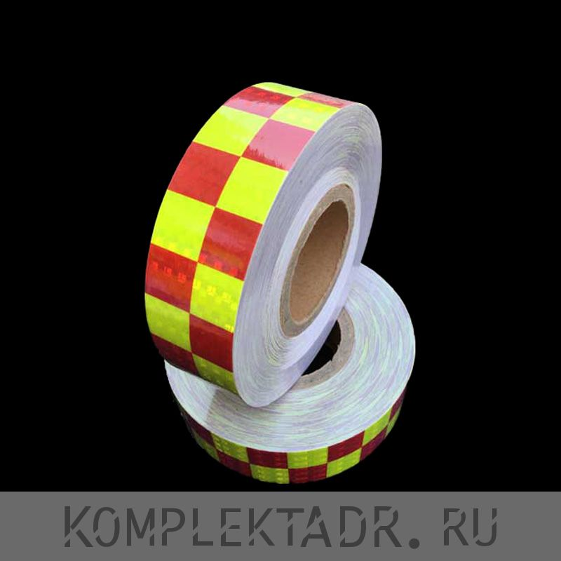 Светоотражающая лента 0,05х25 м красно-желтая шашка (Арт.: 24137)