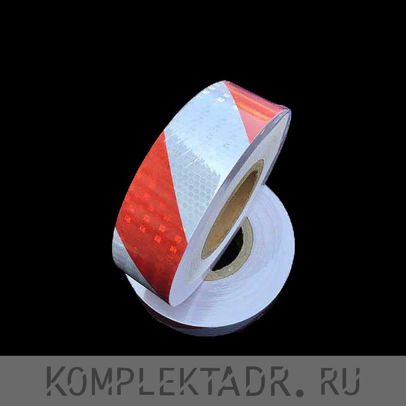 Светоотражающая лента 0,05х25 м красно-белая диагональная (Арт.: 22132)