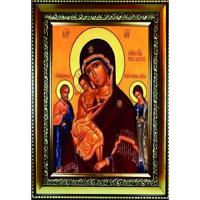 Алмазная живопись с багетом Икона Божией Матери Трех радостей 40*30см DA-K1565