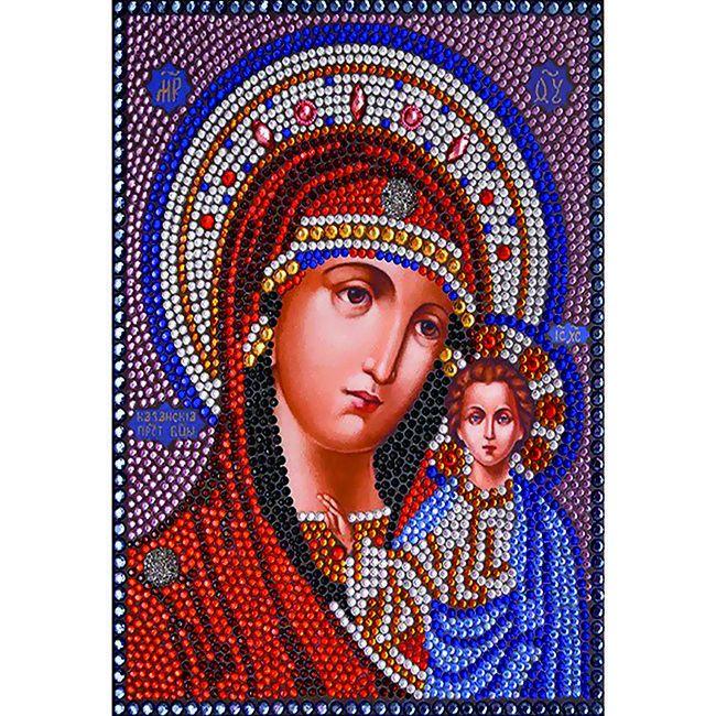 Алмазная живопись с багетом икона Казанская Богородица 40*30см DA-K1619