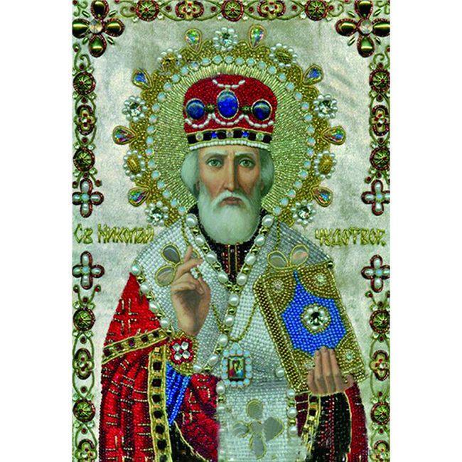 Алмазная живопись с багетом Икона Николая Чудотворца 40*30см DA-K1635