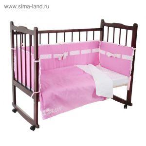 """Комплект в кроватку """"Бантик"""" (6 предметов), цвет розовый 10621   1918406"""