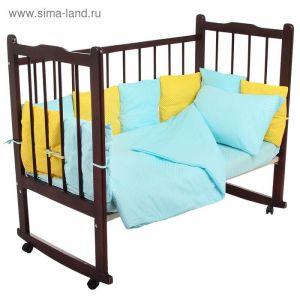 """Комплект в кроватку """"Мозаика"""" (4 предмета), цвета бирюзовый/жёлтый 10407 1409151"""