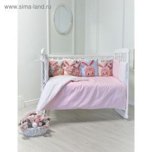 """Комплект в кроватку """"Прекрасные зайчики"""" (4 предмета), бязь, хл100%   4312993"""
