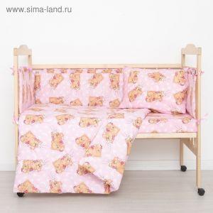 """Комплект в кроватку """"Спящие мишки"""" (4 предмета), цвет розовый 415/1 2070488"""