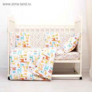 Комплект в кроватку (4 предмета), диз. жирафики с фейерверком звезд, синтепон  3246777