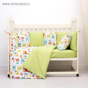 Комплект в кроватку (4 предмета), диз. жирафики/горошек на болотном   3246772