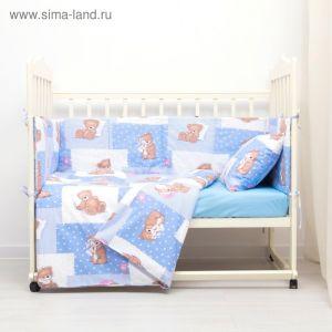 Комплект в кроватку (4 предмета), диз. мишки на голубом/горошек на голубом   3246780