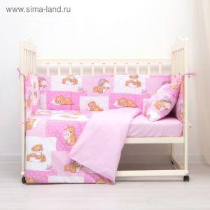 Комплект в кроватку (4 предмета), диз. мишки на розовом/горошек на розовом   3246781