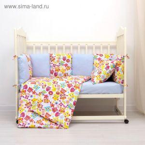 Комплект в кроватку (4 предмета), диз. совы яркие с горошком на голубом   3246770