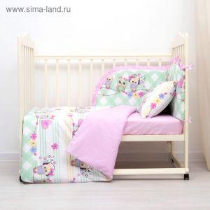 Комплект в кроватку (4 предмета), диз. совята музыкальные с горошком на розовом   3246787
