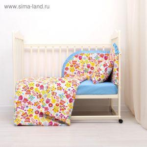 Комплект в кроватку (4 предмета), диз. совята с горошком на голубом   3246786