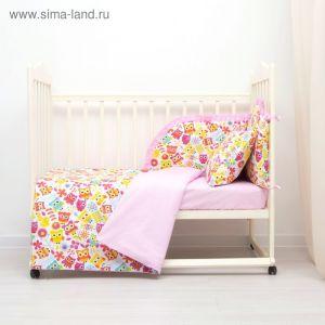 Комплект в кроватку (4 предмета), диз. совята с горошком на розовом,  синтепон   3246782