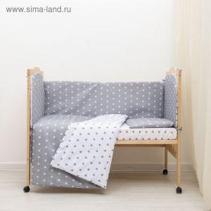"""Комплект в кроватку 6 пр. """"Мечта"""" (борт из 4-х частей), цвет серый, бязь хл100%   3837500"""