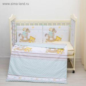 """Комплект в кроватку 6 пр. """"Моя лошадка"""", цвет бирюзовый, бязь, хл100%   3594843"""