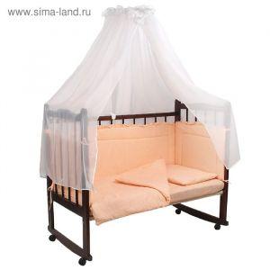 """Комплект в кроватку """"Горошки"""" (7 предметов), цвет персиковый (арт. 10703)"""