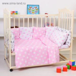 """Комплект в кроватку для девочки """"Прянички"""", 4 предмета, цвет розовый 10400 2621240"""