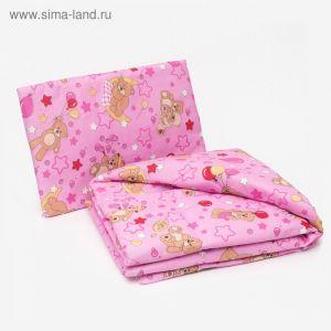 Комплект в кроватку для девочки (одеяло 110*140 см, подушка 40*60 см), цвет МИКС 1523043