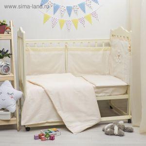Комплект в кроватку ЭЛИТ 5 предметов, вышивка/кружево, велюр/бязь, цв беж   2864624