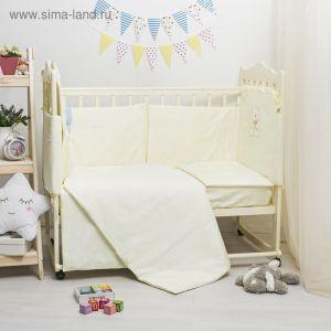 Комплект в кроватку ЭЛИТ 7 предметов, вышивка/кружево, велюр/сатин, цв лимон   2864623