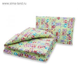 Комплект в кроватку: одеяло 110х140 см, подушка 40х60 см, совушки зел, хл100% бязь 3263205