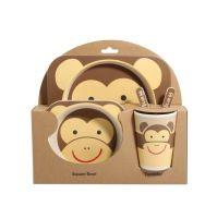 Набор детской посуды из бамбука Bamboo Ware Kids Set, Обезьяна (2)