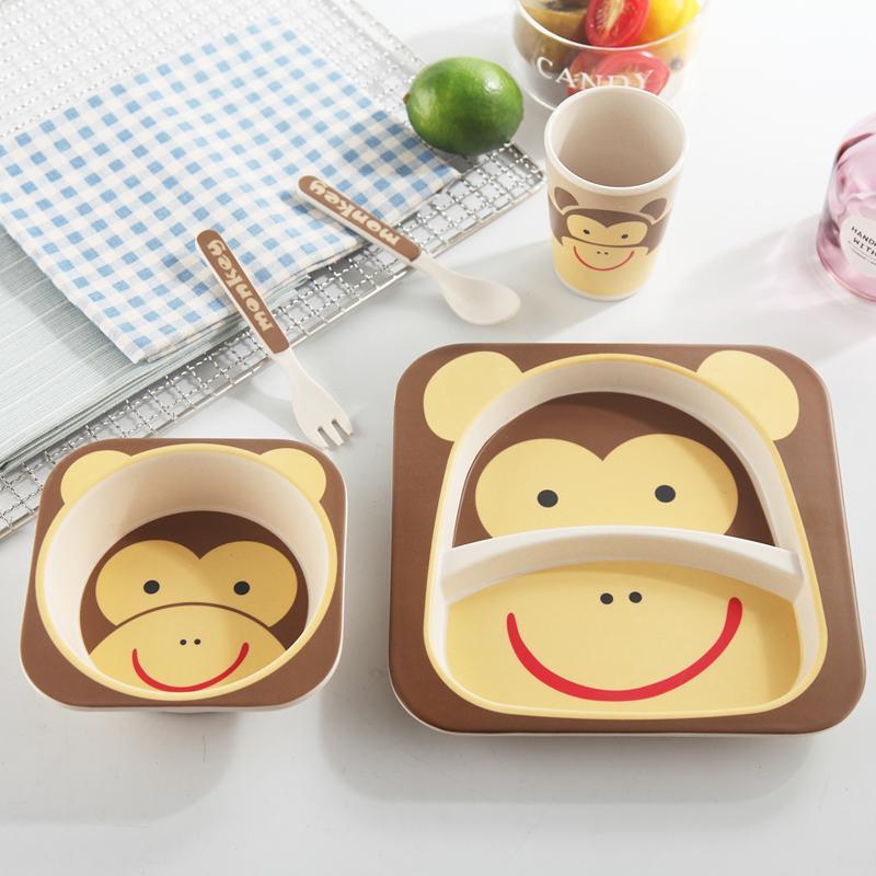 Набор детской посуды из бамбука Bamboo Ware Kids Set , Обезьяна, 5 предметов