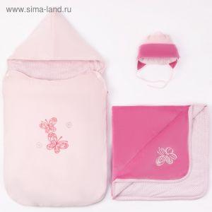 Комплект детский (конверт, плед, шапочка), рост 74 см, цвет розовый