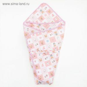 """Конверт для новорожденного """"Мишка"""", теплый, на завяках, цвет розовый   4405168"""