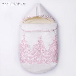 Конверт с капюшоном на молнии Узоры К220, молочный с розовым, рост 56-62  4147129
