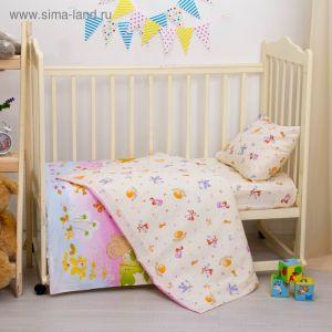 """Детское постельное бельё """"Репка"""", размер 112х147, 60х120, 40х60 см, цвет бежевый, хл100%, бязь 125 г/м C0115 2756555"""