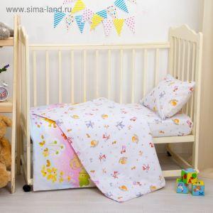 "Детское постельное бельё ""Репка"", размер 112х147, 60х120, 40х60 см, цвет голубой, хл100%, бязь 125 г/м C0115 2756556"
