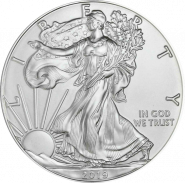 США. 1 доллар 2019. Шагающая свобода. Серебро 999 Унция ( 31,1 гр.).