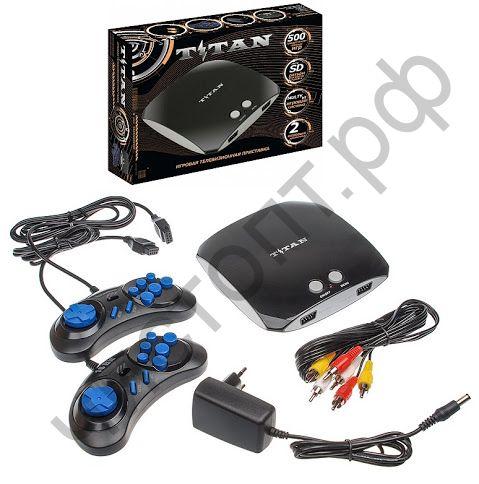 Игровая приставка Sega Магистр Titan 3 черный , 2дж. , встр. 500 игр  слот SD карты для игр и воспр. МР3 и jpeg (фото) Сега
