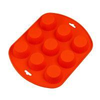 Силиконовая рифлёная форма для выпечки кексов, 9 ячеек, цвет оранжевый (2)