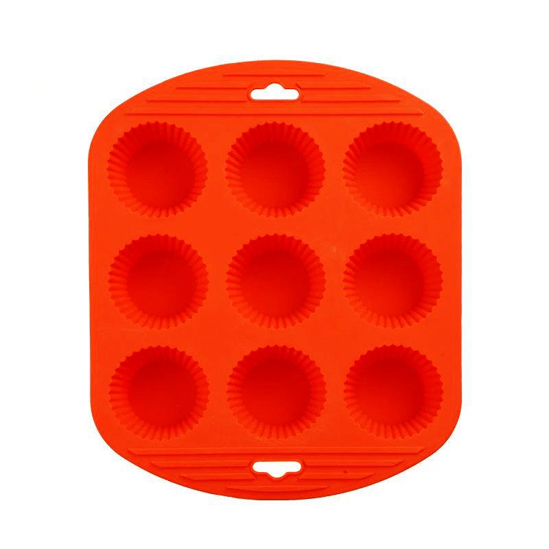 Силиконовая рифлёная форма для выпечки кексов, 9 ячеек, цвет оранжевый