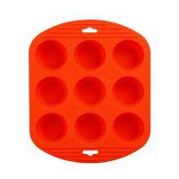 Силиконовая рифлёная форма для выпечки кексов, 9 ячеек, цвет оранжевый (1)