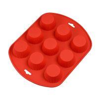 Силиконовая рифлёная форма для выпечки кексов, 9 ячеек, цвет красный (2)